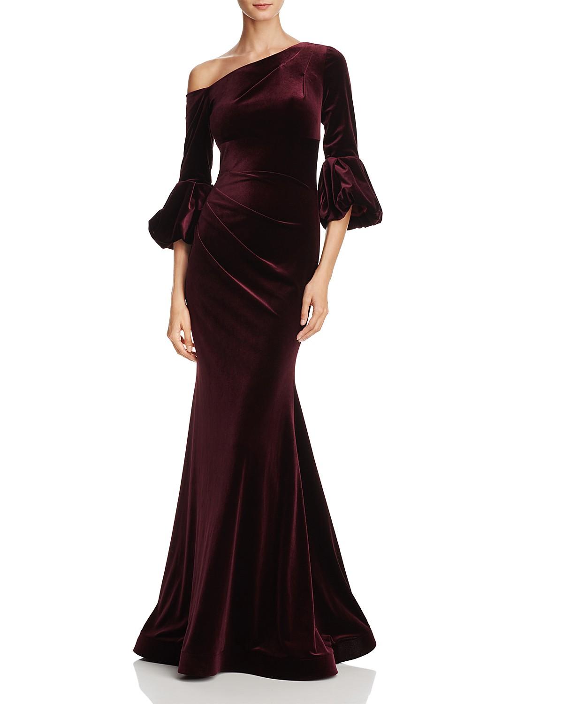 Aqua One Shoulder Velvet Gown 100 Exclusive Bloomingdales
