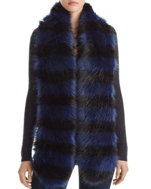 Cara New York Striped Faux Fur Stole - 100% Exclusive