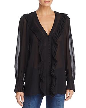 Frame Feminine Tuck Ruffled Silk-Chiffon Blouse