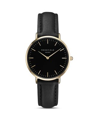 ROSEFIELD Tbbg-T56 Tribeca Stainless Steel Leather Strap Watch in Gold