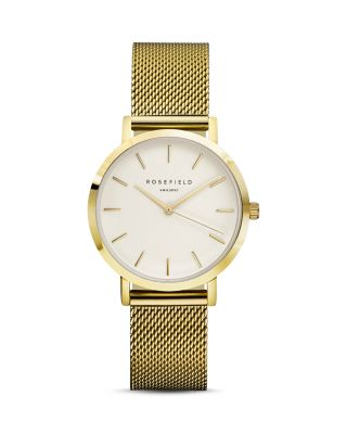ROSEFIELD Tribeca Mesh Strap Watch, 33Mm in Gold