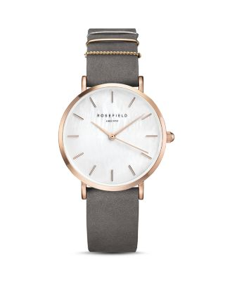 ROSEFIELD Holiday Leather Strap Watch & Bracelet Gift Set, 33Mm in Grey