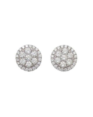 FREDERIC SAGE 18K WHITE GOLD FIRENZE ROUND DIAMOND CLUSTER STUD EARRINGS