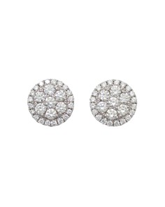 Frederic Sage - 18K White Gold Firenze Round Diamond Cluster Stud Earrings