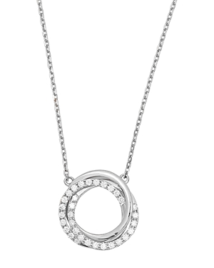 Frederic Sage 18K White Gold Small Triple Halo Diamond Pendant Necklace, 16