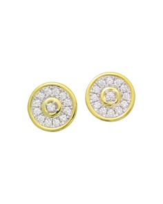 Frederic Sage - 18K White & Yellow Gold Firenze Diamond Disc Stud Earrings