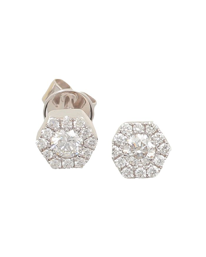Frederic Sage - 18K White Gold Firenze Mini Single Hexagon Diamond Stud Earrings