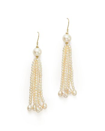 Bloomingdale's - Cultured Freshwater Pearl Tassel Earrings in 14K Yellow Gold, 3-9mm - 100% Exclusive
