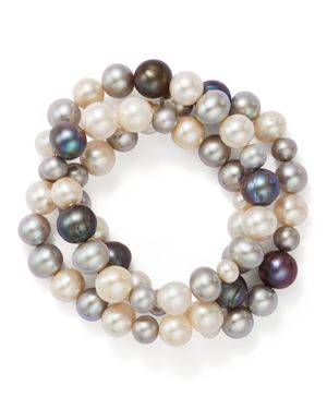 Bloomingdale's Dyed & White Cultured Freshwater Pearl Three Row Stretch Bracelet - 100% Exclusive