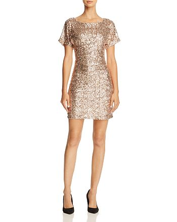 Molly Bracken - Flutter-Sleeve Sequin Dress