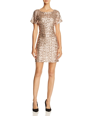 Molly Bracken Flutter-Sleeve Sequin Dress