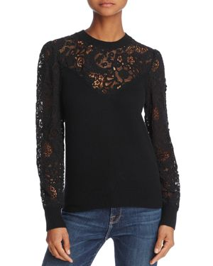 Rebecca Taylor Lace Mixed-Media Sweater