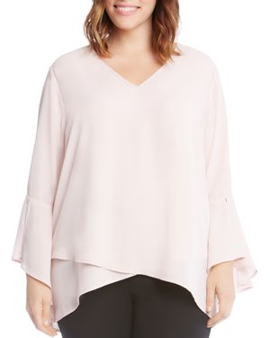 Karen Kane Plus Split Bell Sleeve Top