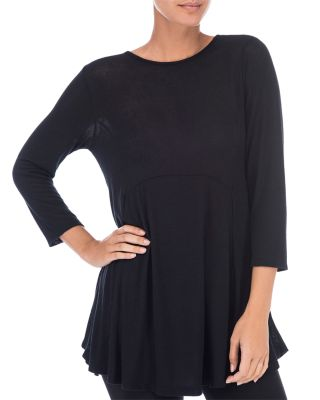 B COLLECTION BY BOBEAU Brushed Babydoll Tunic in Black
