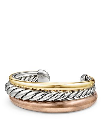 David Yurman - Pure Form Mixed Metal Three-Row Cuff with Bronze, Sterling Silver and Brass
