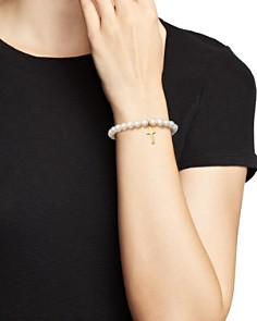 Bloomingdale's - Cultured Freshwater Pearl Cross Charm Stretch Bracelet in 14K Yellow Gold - 100% Exclusive