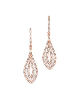 Bloomingdale's - Diamond Round & Baguette Drop Earrings in 14K Rose Gold, 1.55 ct. t.w.