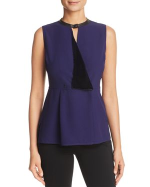 Elie Tahari Bowie Mixed-Media Peplum Tank