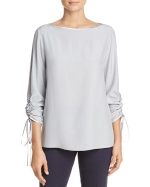 Lafayette 148 New York Georgina Drawstring-Sleeve Silk Top