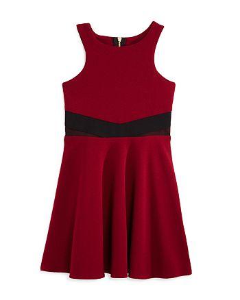 Sally Miller - Girls' Textured Dress with Mesh Waist - Big Kid