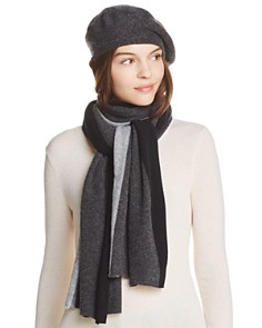C by Bloomingdale's Angelina Cashmere Beret & Angelina Cashmere Stripe Scarf - 100% Exclusive_0
