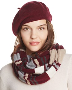 C by Bloomingdale's Angelina Cashmere Stripe Infinity Scarf and Beret - 100% Bloomingdale's_0