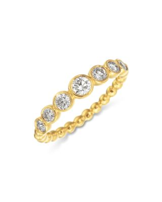 18K YELLOW GOLD SEVEN DIAMOND MEDIUM NUTMEG RING