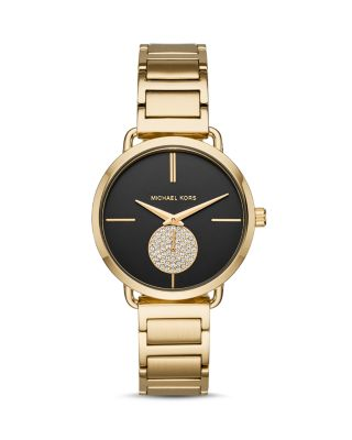 Mk3788 Portia Pvd Gold-Plated Stainless Steel Quartz Watch, Black/Gold