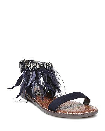 1d7d426714a6cd Sam Edelman Women s Genevia Embellished Suede Ankle Strap Sandals ...