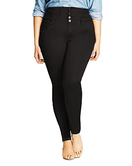 City Chic Plus - Harley Corset Skinny Jeans in Black