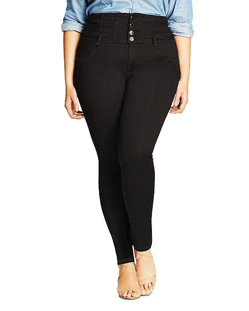City Chic Plus - Harley Corset Skinny Jeans in Black
