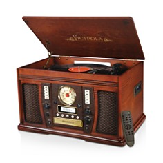 Innovative Technology - Victrola Wood 7-in-1 Nostalgic Bluetooth Record Player with CD Encoding and 3-speed Turntable