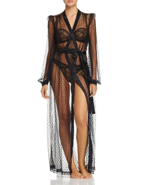 Lamarr Sheer Dot Long Robe, Black