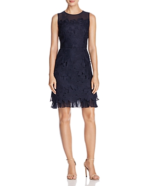 Adrianna Papell Ruffle-Hem Lace Dress