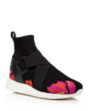 Salvatore Ferragamo Women's Flower Detail High Top Sock Sneakers