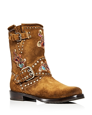 Frye Women's Nat Flower Embellished Suede Engineer Boots