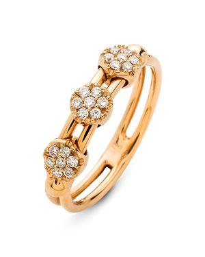 Hulchi Belluni 18K Rose Gold Tresore Diamond Trio Ring