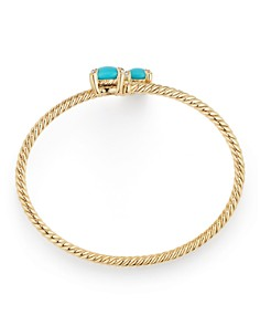David Yurman - Châtelaine Bypass Bracelet with Turquoise & Diamonds in 18K Yellow Gold