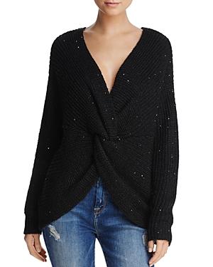 Sadie & Sage Sequin Knot-Front Cocoon Sweater