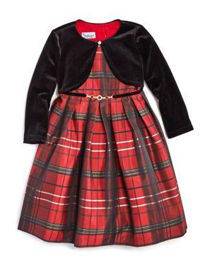 Pippa & Julie Girls' Plaid Dress with Velvet Shrug - Little Kid 2740784