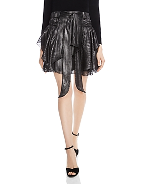 Halston Heritage Ruffled Metallic-Stripe Skirt