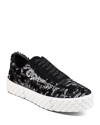 Kendall + Kylie - Women's Reign Sequin Platform Lace Up Sneakers