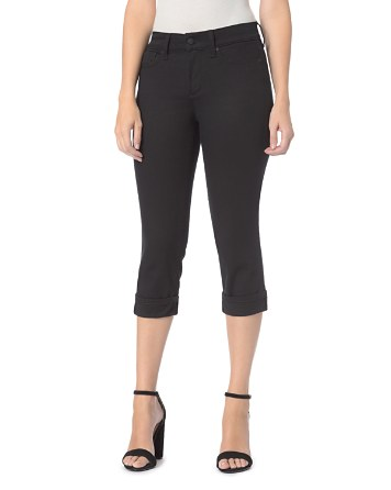 NYDJ Petites Marilyn Cropped Cuffed Jeans in Black