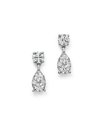 Bloomingdale's - Diamond Cluster Drop Earrings in 14K White Gold, 1.0 ct. t.w. - 100% Exclusive