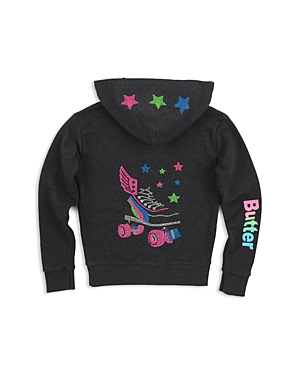Butter Girls' Embellished Roller Skate Zip-Up Hoodie - Little Kid