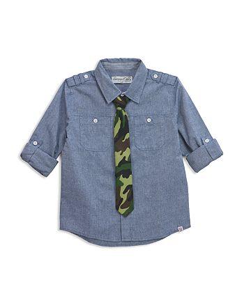 Sovereign Code - Boys' Chambray Shirt & Camo Tie Set - Big Kid