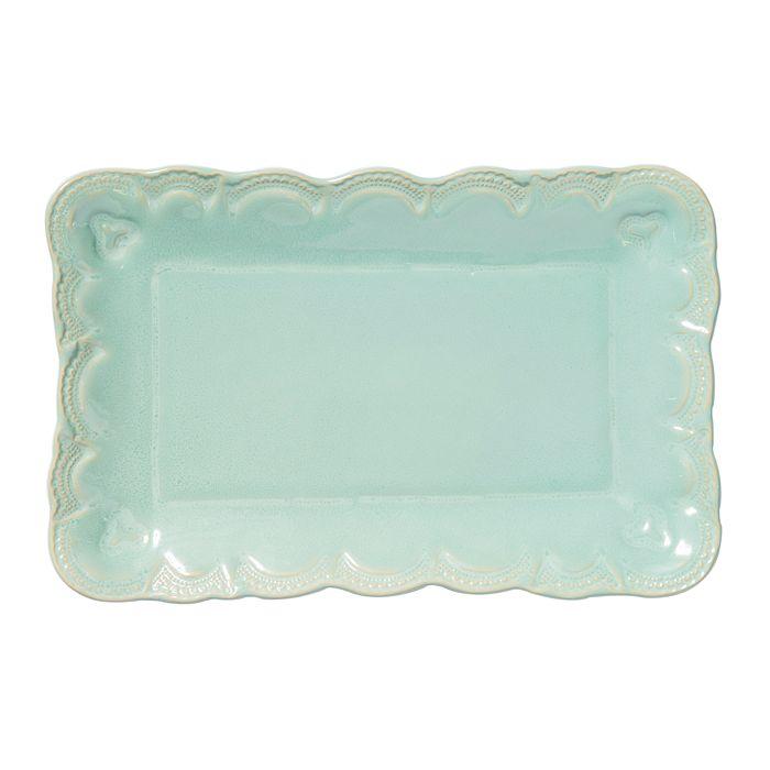 VIETRI - Incanto Stone Aqua Lace Small Rectangular Platter