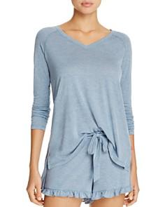 Josie Heathered Long Sleeve Top & Ruffle Sleep Shorts - Bloomingdale's_0