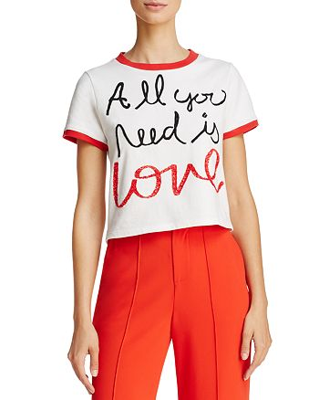 Alice and Olivia - x The Beatles Rylyn Embroidered Ringer Tee