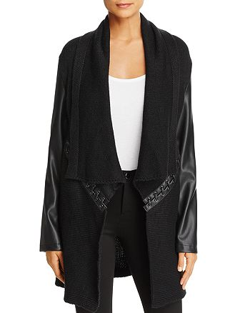 Bagatelle - Draped Lace Up Sweater Jacket - 100% Exclusive
